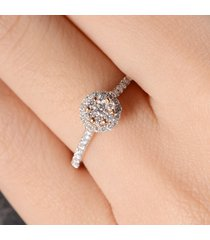 0.45 ctw round cut diamond 10k white gold fn 925 silver cluster engagement ring
