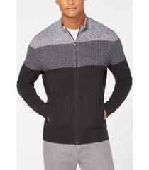alfani men's ombre colorblocked ribbed-knit full-zip sweater, created for macy's