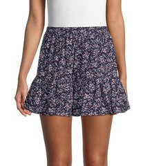 love ady women's ruffled floral mini skirt - navy white - size l