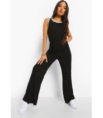 petite jumpsuit met zijstreep en split, black