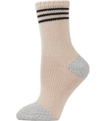 striped sweater knit women's crew socks