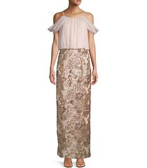 cold shoulder chiffon gown