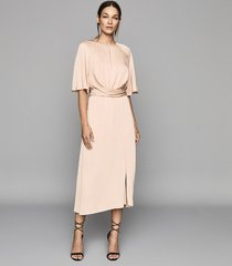 reiss arlo - half sleeve midi dress in light pink, womens, size 12