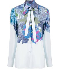 blue floral pussy bow blouse