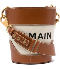 balmain saddler bi-material bucket bag - neutrals