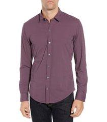 men's boss robbie slim fit diamond performance sport shirt, size medium - purple