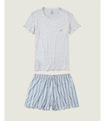 pijama listrado com barbicacho malwee liberta cinza claro - exx
