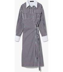 striped cotton wrapped shirt dress