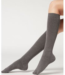 calzedonia long socks with cashmere woman grey size 36-38