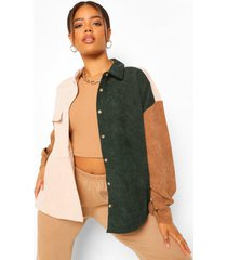 oversized corduroy colour block blouse, tan