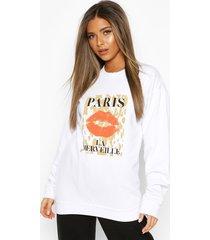 petite leopard lips slogan sweater, white