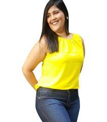 blusa crepe linda d+ regata amarelo (4007) - amarelo - feminino - poliã©ster - dafiti