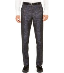 tallia orange men's slim-fit snakeskin-print suit pants