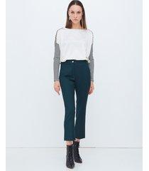motivi pantaloni kick flare in flanella donna verde