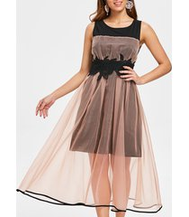 mesh overlay sleeveless vintage dress