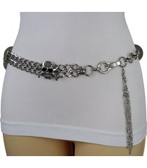 women hip waist belt silver metal chain skeleton skull pirate bone charm s m