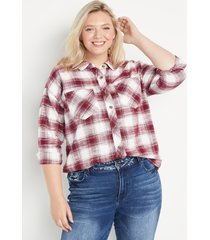 maurices plus size womens burgundy plaid oversized button down shirt red