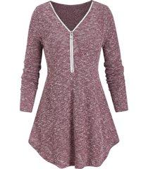 o-ring half zip v neck heather knit knitwear