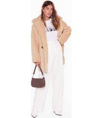 womens crazy fur your love oversized faux fur coat - beige
