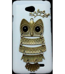 cute retro bronze metal owl branch hard back skin case cover for lg optimus l70