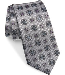 men's nordstrom medallion silk tie, size regular - metallic