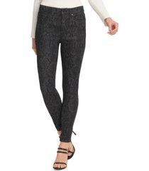 dkny printed high-rise skinny jeans