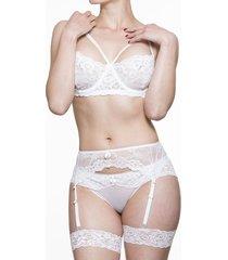 conjunto lenceria scherzo adagio 1 sensual con liguero blanco