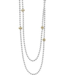 lagos 'caviar icon' strand necklace, size 36 in in silver/gold at nordstrom