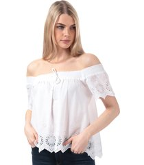 brave soul womens broderie anglaise square neck top size 16 in white