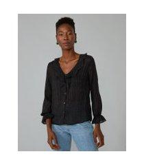 amaro feminino camisa jacquard decote v, preto