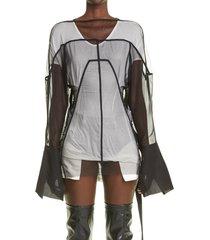 women's rick owens collage tulle & chiffon tunic, size 4 us - black