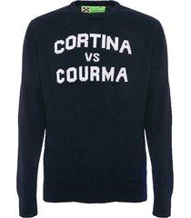 mc2 saint barth man blue navy sweater cortina & courma print