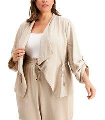calvin klein plus size flyaway roll-sleeve jacket