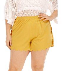 plus tamaño shorts de cintura elástica amarilla