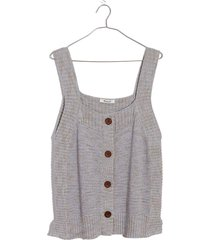 women's madewell rowe marled button front sweater tank, size medium - blue