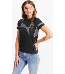 evostripe evoknit knitted t-shirt voor dames, zwart, maat s | puma