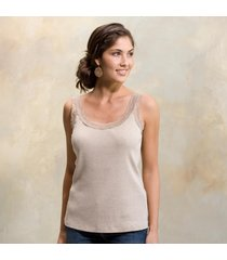 heather lace-trim rib tank top