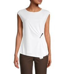calvin klein women's gathered-front top - soft white - size xs