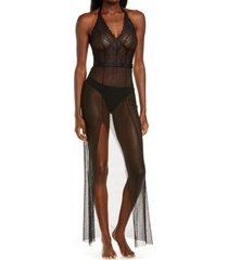 women's monique lhuillier x hanky panky rendezvous tulle & lace slip, size medium - black