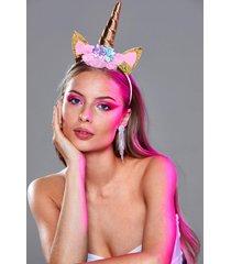 womens ride on floral unicorn headband - gold