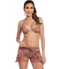 shorts de praia maré brasil laranja