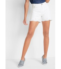 jeans short met broderie anglaise