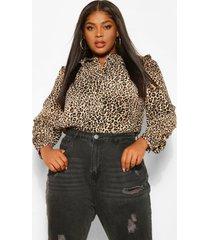 plus luipaardprint poplin blouse met hoge kraag, brown