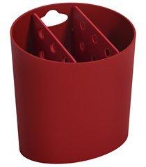escorredor de talheres oval basic 14,4x10,5cm vermelho bold