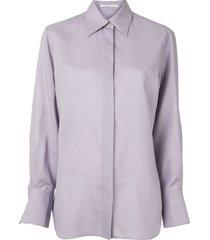 agnona long sleeve straight fit shirt - purple