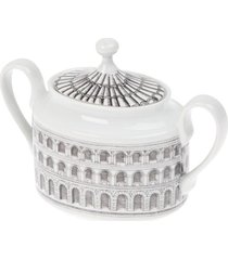 fornasetti açucareiro de porcelana estampado - cinza