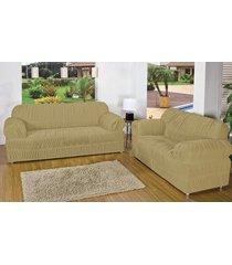 capa de sofá atual 2 e 3 lugares bege com 2 peças malha elástica - aquarela