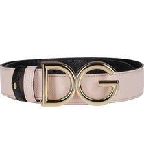 dolce & gabbana blush pink leather belt