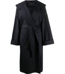 federica tosi hooded tie-waist coat - blue