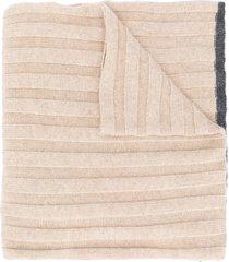 brunello cucinelli cashmere ribbed scarf - neutrals